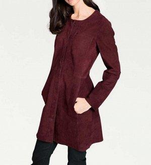 Кожаное пальто, бордовое