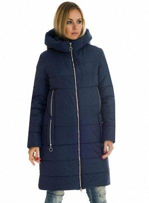 Классический женский пуховик с капюшоном Код: 47-1 синий