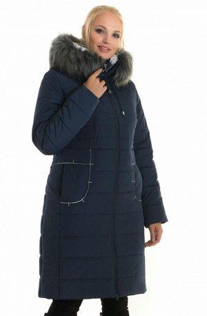 Женский пуховик больших размеров от производителя 48- 62 Код: 48 синий. мех