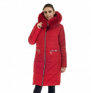 Красный зимний пуховик женский с капюшоном Код: 52 красный песец