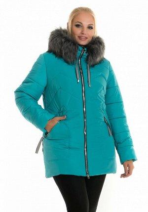 Короткая женская теплая куртка с искусственным мехом Код: 58 бирюза мех