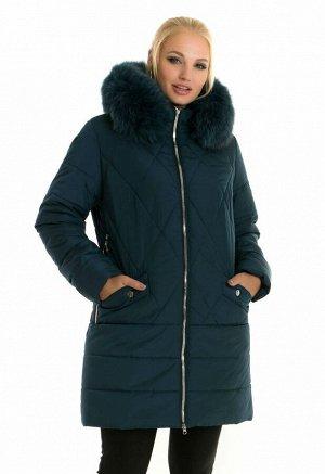 Теплая зимняя куртка женская Код: 49 малахит песец