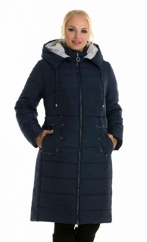 Зимний женский пуховик с капюшоном Код: 48-1 синий