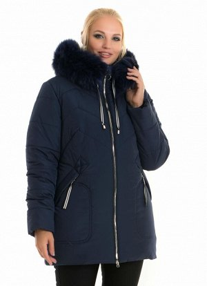 Зимняя женская куртка с мехом батал Код: 58 синий песец