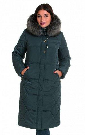 Женский зимний пуховик от производителя Код: 50 малахит. мех