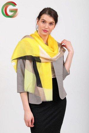 Палантин-накидка с геометричным принтом, желто-черный, производство Китай