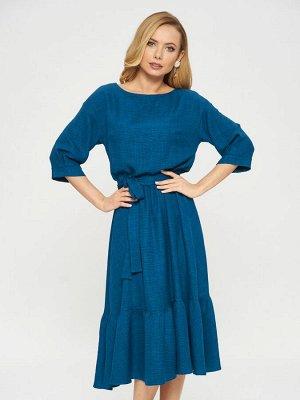 Платье Платье П-952 КРМ(В20)  Состав ткани : ПЭ 70%, Вискоза 30%  Рост фотомоделей: 178 см  Платье цвета морской волны. По подолу расположен волан. Рукава с защипом и манжетом. К платью прилагается п