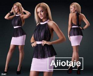 Платье Нарядное коктейльное платье. Материал: стрейч джинс+горох флок.