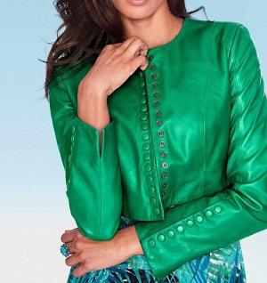 Кожаная куртка, зеленая
