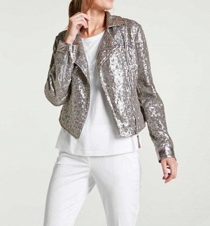Байкерская куртка, серебристая