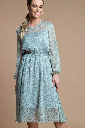 Платье Белучче из шифона зеленый (П-209-2)