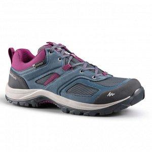 Кроссовки водонепроницаемые для горных походов женские сине-фиолетовые MH100
