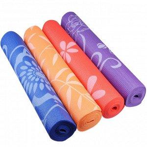 Коврик для йоги, ПВХ, 61х173 см, толщина 4мм, с принтом, 4 цвета, SILAPRO