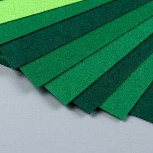 Набор  фетра (жесткий)  1 мм 20х30 см 10 листов цв. зеленый ассорти