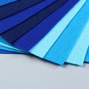 Набор  фетра (мягкий)  1 мм 20х30 см 10 листов цв. синий ассорти