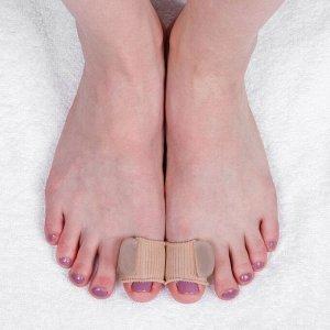 Корректоры для больших пальцев, на манжете, силиконовые, 5 ? 3 см, пара, цвет бежевый