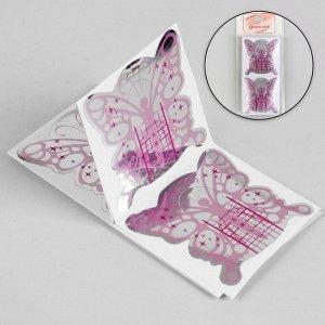 Формы для ногтей «Бабочка», 20 шт, цвет фиолетовый/серебристый