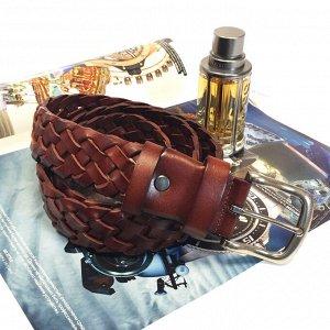 Оригинальный плетеный мужской ремень из натуральной кожи каштанового цвета, длина 117 см.