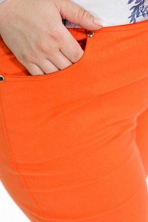 Брюки-2179 Модель брюк: Прямые; Материал: Хлопок стрейч;   Фасон: Брюки Брюки джинса с отворотом оранжевые Брюки-стрейч отлично подойдут для повседневного гардероба. Модель хорошо сидит за счет комфор