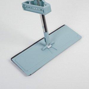 Швабра плоская с вертикальным отжимом и водосгоном Доляна, стальная ручка 126 см, 2 насадки из микрофибры 35?11 см