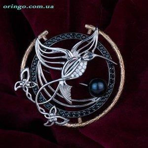 Брошь Райская птица (цветные камни), Жемчуг черный
