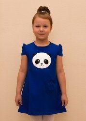 """Платье Полотно кулирная гладь , плотность 160 г, хлопок 100%.  Платье прямого силуэта чуть расклешенное к низу.  По полочке печать (шелкография) - """"панда"""" и кармашек.  Цвет как на фото(васильковое)"""