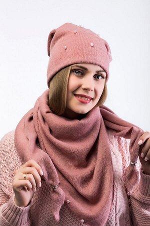 Комплект комплект, шарф -  шапка 56-58 см; пудра; подклад  флис -  трикотаж