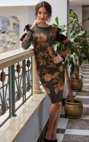 Платье распродажа!  дизайнерское платье выполнено из принтованного трикотажа  с люрексом в сочетании с черным жоржетом.  Платье полуприлегающего  силуэта с округлым  вырезом  горловины, горловина обра