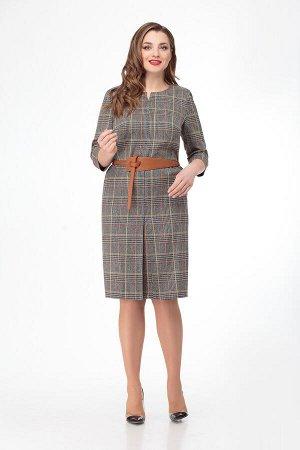 Платье Платье Кокетка и К 707  Состав ткани: Вискоза-63%; ПЭ-33%; Спандекс-4%;  Рост: 164 см.  Платье прямого силуэта.В среднем шве полочки встречная бантовая складка с разрезом в низу,которая визуал