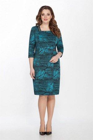 Платье Платье LaKona 1290 бирюза/черный  Состав ткани: Вискоза-70%; ПЭ-27%; Эластан-3%;  Рост: 164 см.  Платье женское средней длины, полуприлегающего силуэта ,выполнено из триктажа с принтом. Вперед