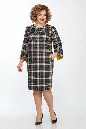 Платье Платье LaKona 991-1 синий / горчица  Состав ткани: Вискоза-32%; ПЭ-65%; Спандекс-3%;  Рост: 164 см.  Платье полуприлегающего силуэта, выполнено из костюмно-плательной ткани. Платье с карманами