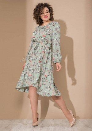 Платье Платье Galean Style 744 мята  Состав ткани: Вискоза-50%; ПЭ-50%;  Рост: 164 см.  Длина платья 110 см  Длина рукава 60 см