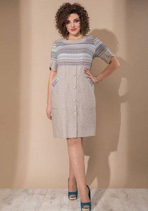 Платье Платье Galean Style 745  Состав ткани: Вискоза-45%; Лён-55%;  Рост: 164 см.  Длина платья 102 см  Длина рукава 31 см
