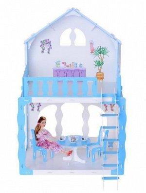"""Домик для кукол """"Дом Марина"""" бело-голубой (с мебелью) KRASATOYS 000266"""