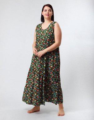 Длинный зелёный сарафан с цветами, 332
