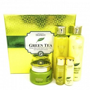 Deoproce Premium Green Tea Total Solution Skin Care 3 Set - Увлажняющий премиум набор с зелёным чаем