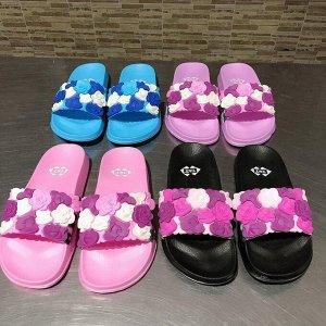 на девочку Женская пляжная обувь на плоской подошве с цветами