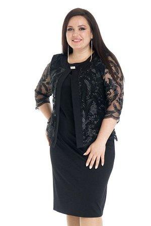 Платье Длина платья: Ниже колена; Материал: Креп, гипюр; Фасон: Платье Платье обманка с гипюровым болеро черное Длина изделия 50 размера по спинке - 98 см. В каждом следующем размере длина увеличивает