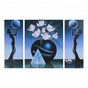 """Картина модульная на подрамнике """"Розы, круглая ваза"""" ( 2-19х50см; 1-40х50)   88х50см"""