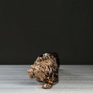 """Статуэтка """"Лев крадущийся"""". бронзовый цвет. 14.5 см"""