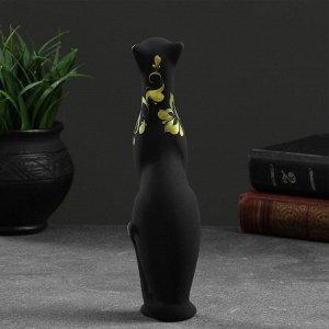 """Фигура """"Кошка Багира"""" прямая роспись 23см черный 6?6?21см 009"""