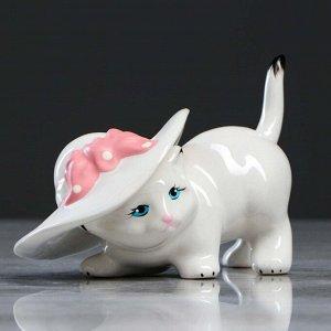 """Сувенир """"Кот в шляпе"""" белый, 10 см, микс"""