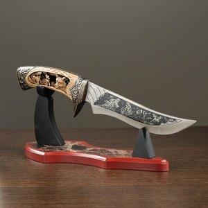 Нож на подставке с волками, металл, дерево, 12,5х30 см