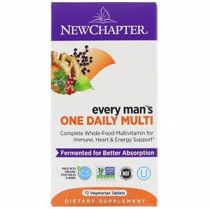 New Chapter, Every Man's One Daily Multi, мультивитаминная добавка для мужчин, 72вегетарианских таблетки