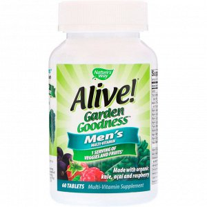 Nature&#x27 - s Way, Alive! Garden Goodness, Men&#x27 - s Multivitamin, 60 Tablets