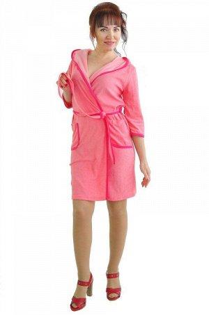 Халат 185 сиреневый розовый Состав: 70%хлопок,30%ПЭ Описание: Удобный домашний халат с капюшоном и накладными карманами, рукав 3/4. Выполнен из приятного махрового полотна. С вами всегда интересно раб