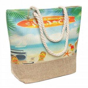 Сумка Сумка пляжная  из ткани с принтом, с застёжкой - молния, на непромокаемой подкладке, с двумя внутренним карманчиками для мелочей. Длина верёвочной ручки позволяет носить сумку на плече. Размер: