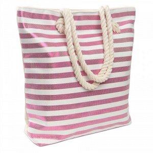 Сумка Пляжная сумка в блестящую полоску на непромокаемой подкладке с одним отделением и карманчиком для мелочей, с верёвочными ручками, застёжка - молния . Можно носить на плече. Размер: высота 38см,