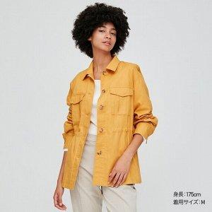 Льняная хлопковая куртка, желтый
