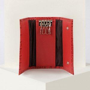 Ключница, 4 карабина, цвет красный